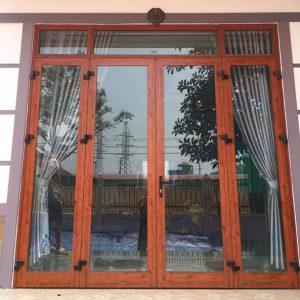 Cửa nhôm xingfa 4 cánh màu vân gỗ